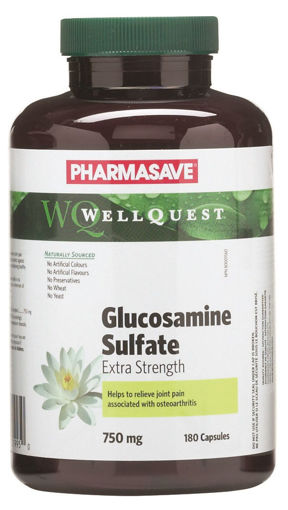 Picture of PHARMASAVE WELLQUEST GLUCOSAMINE SULFATE EXTRA STRENGTH CAPSULE 750MG 180S