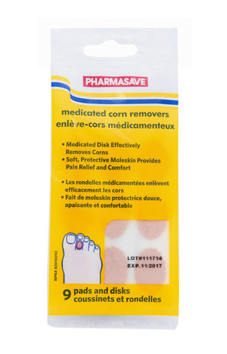Picture of PHARMASAVE MEDICATED CORN REMOVERS - 9 PADS AND DISKS