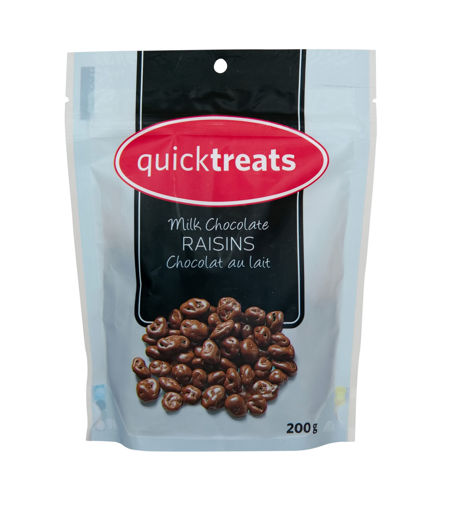 Picture of QUICKTREATS MILK CHOCOLATE RAISINS 200GR