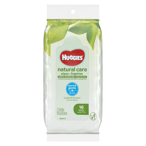 Picture of HUGGIES NATURAL CARE WIPES FRAGRANCE FREE - TRAVEL PACK 16S