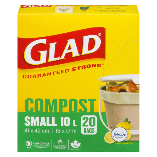 Picture of GLAD KITCHEN GARBAGE BAGS - SMALL - COMPOSTABLE 20S