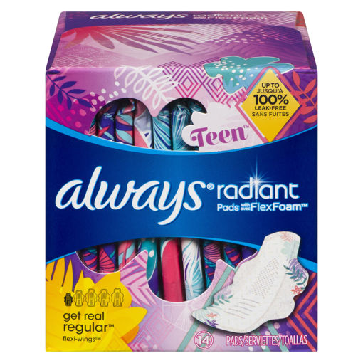 Picture of ALWAYS RADIANT TEEN PADS - REGULAR ABSORBENCY - UNSCENTED 14S