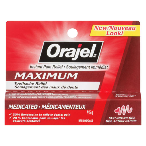 Picture of ORAJEL INSTANT PAIN RELIEF FOR TOOTHACHE GEL - MAXIMUM STRENGTH 9.5GR