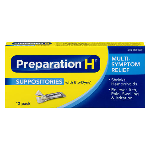 Picture of PREPARATION H SUPPOSITORIES 12S