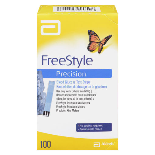 Picture of FREESTYLE PRECISION BLOOD GLUCOSE TEST STRIPS 100S