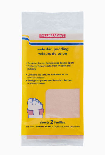 Picture of PHARMASAVE MOLESKIN PADDING 146MMX79MM - 2 SHEETS