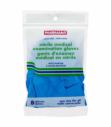 Picture of PHARMASAVE NITRILE GLOVES POWDER FREE - ONE SIZE FITS ALL - 8/BAG
