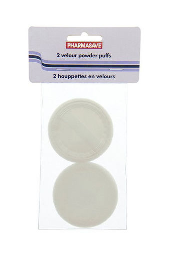Picture of PHARMASAVE VELOUR POWDER PUFFS - WHITE 2S
