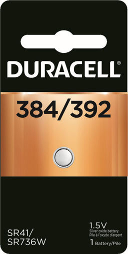 Picture of DURACELL WATCH BATTERY - SILVER OXIDE D384/392 1S