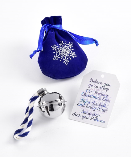 Picture of GIFTCRAFT SILVER BELL ORNAMENT W/POUCH & CARD 661924