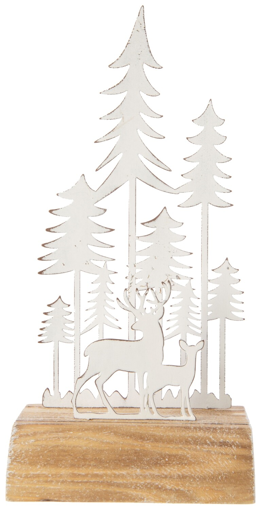 Picture of CHRISTMAS ANTIQUE REINDEER FOREST WHITE 10IN