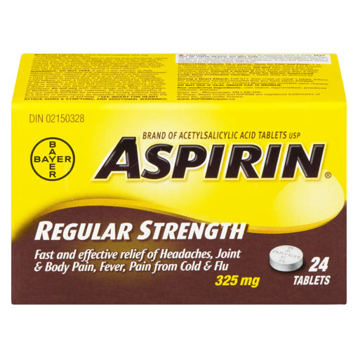 Picture of ASPIRIN A.S.A. TABLET 325MG 24S