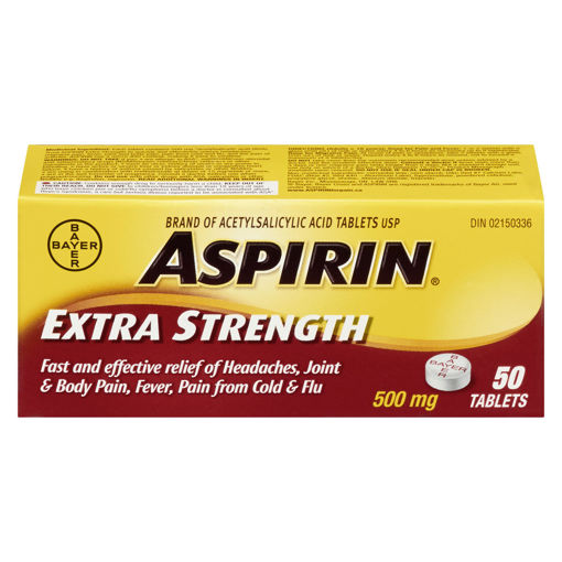 Picture of ASPIRIN A.S.A. EXTRA STRENGTH TABLET 500MG 50S