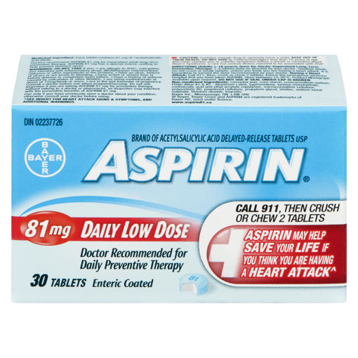 Picture of ASPIRIN A.S.A. DAILY LOW DOSE TABLET 81MG 30S