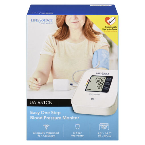 Picture of LIFESOURCE BLOOD PRESSURE MONITOR - EASY ONE STEP UA651