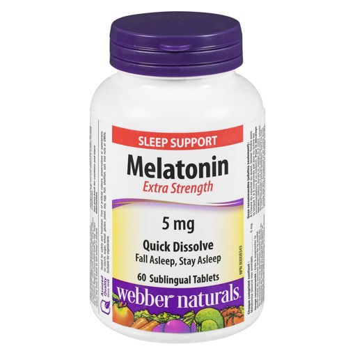 Picture of WEBBER NATURALS MELATONIN - EXTRA STRENGTH - SUBLINGUAL TABLET 5MG 60S