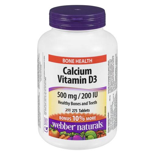 Picture of WEBBER NATURALS CALCIUM CARBONATE W/VIT D BONUS 500MG 250+25S
