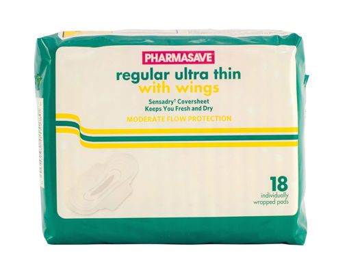 Picture of PHARMASAVE ULTRA THIN PAD - REGULAR W/WINGS 18S