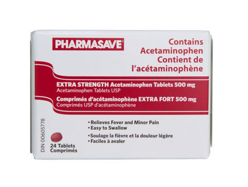 Picture of PHARMASAVE ACETAMINOPHEN - EXTRA STRENGTH - EZ SWALLOW TABLET 500MG 24S