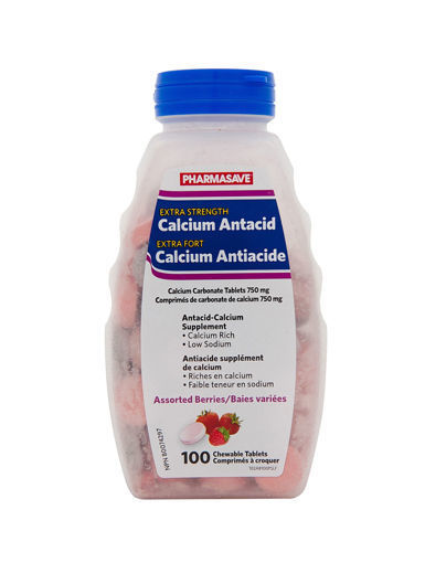Picture of PHARMASAVE CALCIUM ANTACID - EXTRA STRENGTH - BERRY TABLET 750MG 100S