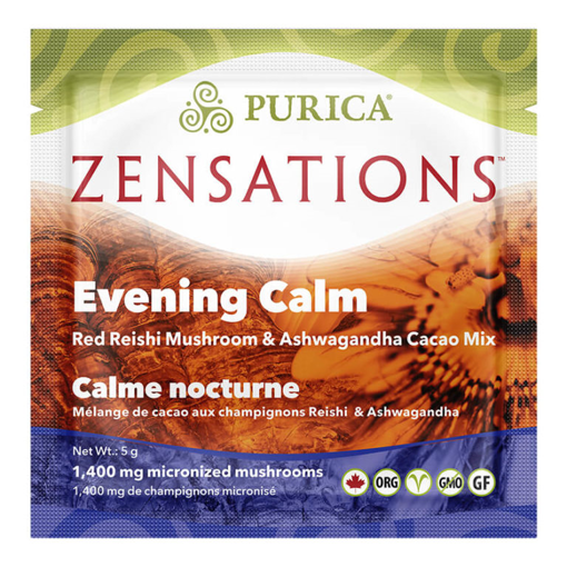 Picture of PURICA ZENSATIONS EVENING CALM - RED REISHI & ASHWAGANDHA MUSHROOM CACAO MIX - SINGLE DOSE