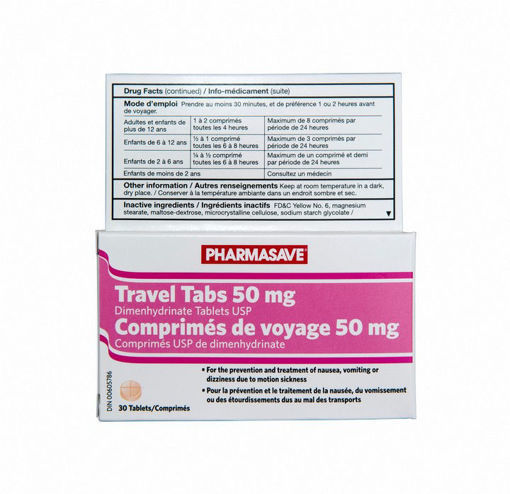 Picture of PHARMASAVE TRAVEL TABS 50MG 30S