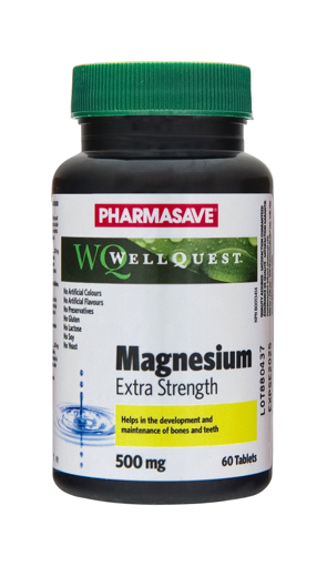 Picture of PHARMASAVE WELLQUEST MAGNESIUM 500MG TABLETS 60S