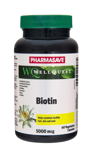 Picture of PHARMASAVE WELLQUEST BIOTIN 5000MCG CAPS 60S