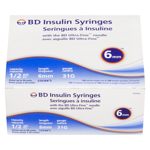 Picture of BD ULTRA-FINE INSULIN SYRINGE 6MM X 31G 0.5ML 100S