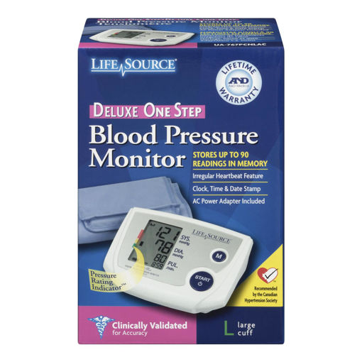Picture of LIFESOURCE BLOOD PRESSURE MONITOR - DELUXE ONE STEP - UA767 - LRG