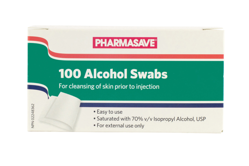 Picture of PHARMASAVE ALCOHOL SWABS 100S
