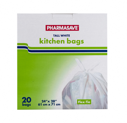 Picture of PHARMASAVE TALL WHITE KITCHEN BAGS 20S